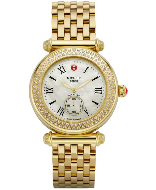 Michele Ladies Gold Caber Diamond watch, 37mm