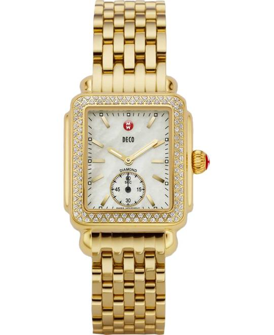 Michele Deco Mid Diamond Gold Watch 29*31mm