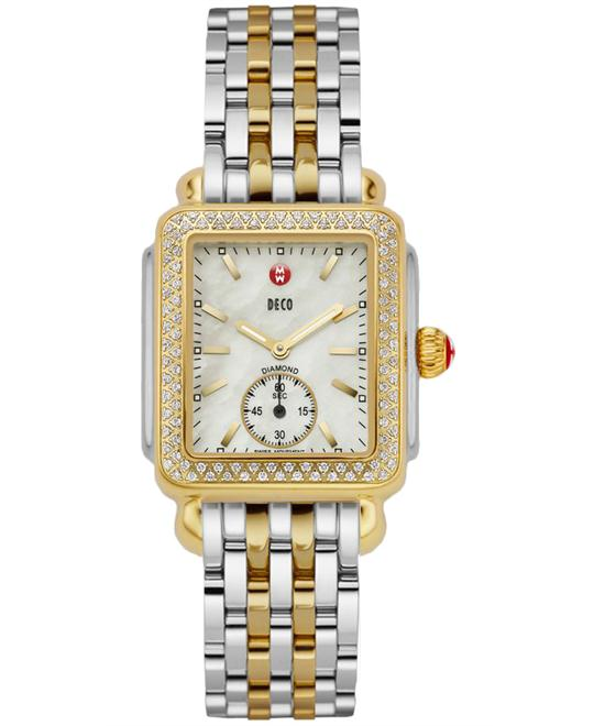 đồng hồ Michele Deco Diamond Gold Watch 29*31mm
