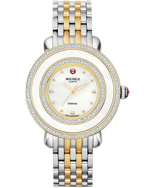 Michele Ladies Cloette Diamond MOP 38mm