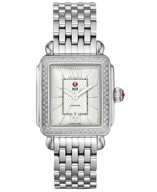 Michele Ladies Signature Deco Diamond, Guilloch  33mm X 35mm