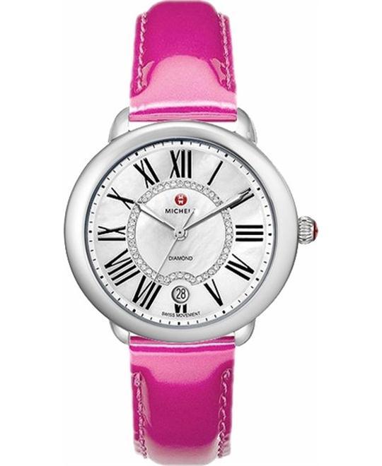 đồng hồ nữ Michele Serein 16 Diamond Dial Pink Patent Watch 36 x 34mm