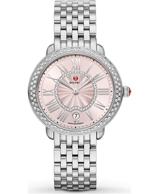 đồng hồ Michele Serein Blush Sunray Ladies Watch 36*34mm