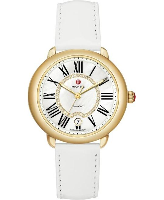 Michele Serein Diamond Dial White Patent Watch 36 x 34mm