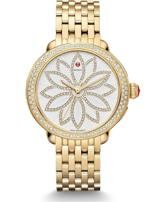 đồng hồ Michele Serein Diamond Gold Flower 38*40mm