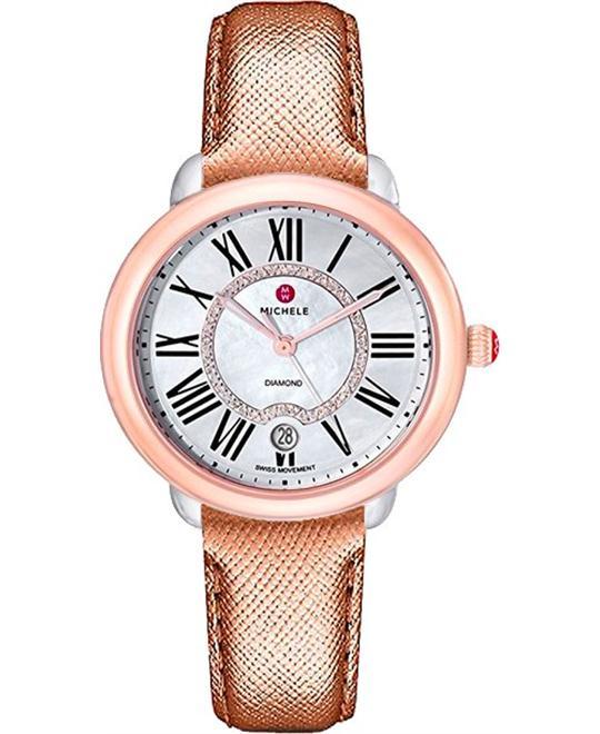 đồng hồ nữ Michele Serein Mid 16 Diamond Saffiano Watch 36 x 34mm