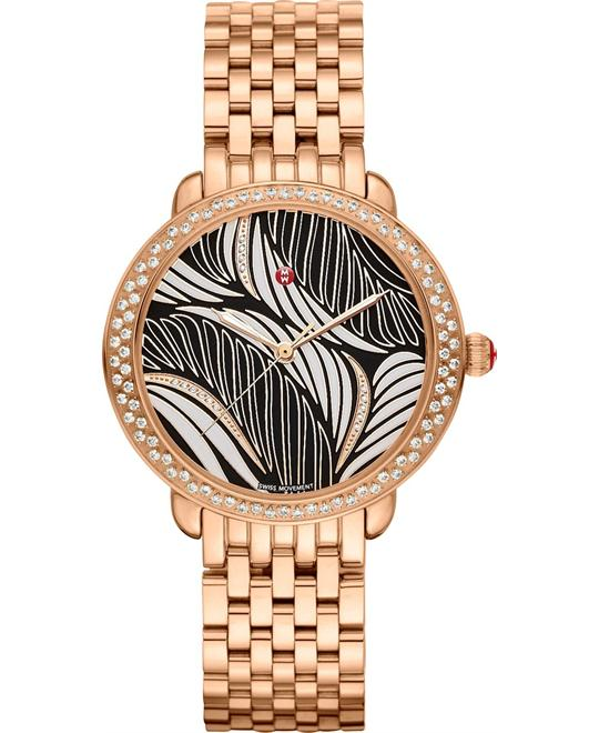 đồng hồ Michele Serein Mid Rose Willow Diamond Watch 36*34mm