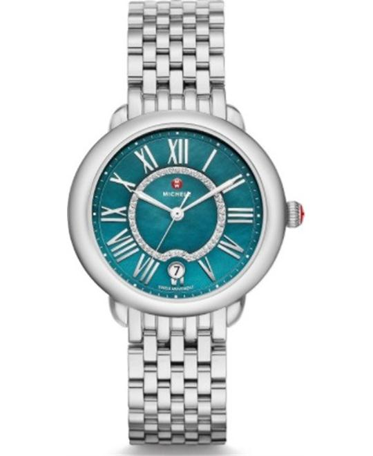 Michele Serein Mid Teal Diamond Watch 36 x 34mm