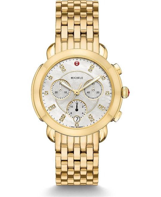 Michele Sidney Diamond 18k Watch 38mm