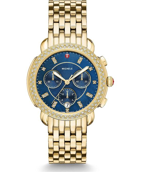 đồng hồ Michele Sidney Diamond Gold Navy Watch 38mm