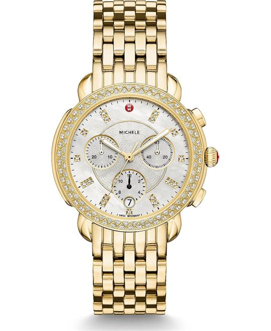 Michele Sidney Diamond Gold Watch 38mm