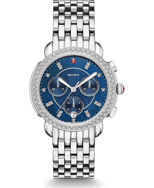 đồng hồ Michele Sidney Navy Diamond Watch 38mm