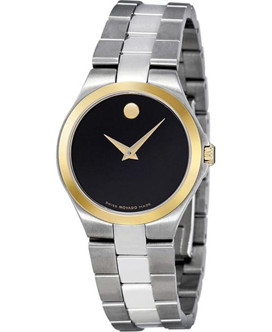 Movado Black Dial Two-Tone Watch 28mm