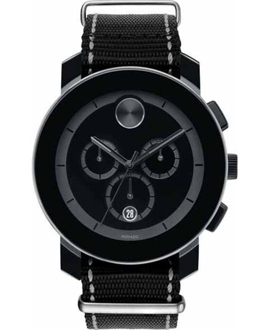 MOVADO Bold Black Woven Nylon Unisex Watch 43.5mm