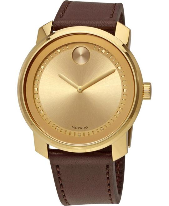 MOVADO Bold Gold-Tone Dial Brown Leather Men's Watch 42.5mm