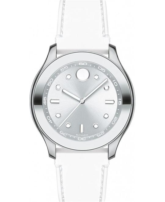 Movado Bold Silver Dial White Silicone Ladies Watch 38mm