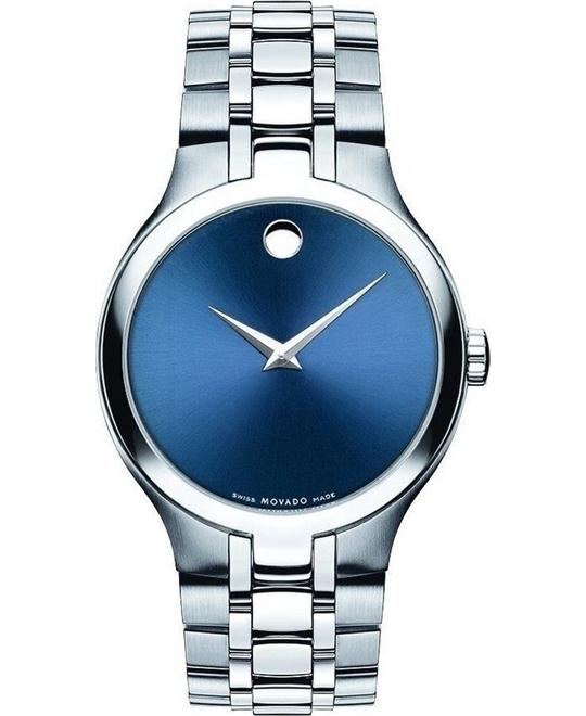 Movado Collection Blue Dial Mens Steel Watch 38mm