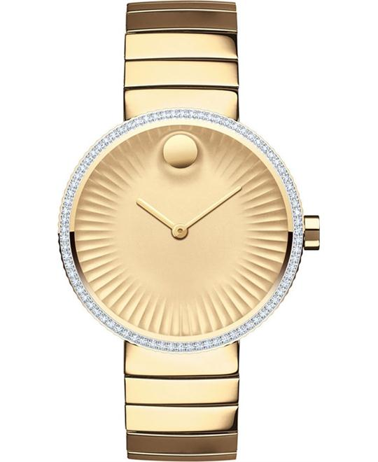 Movado Edge Swiss Diamond Gold-Tone Watch 34mm