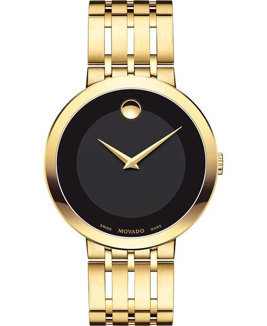 MOVADO Esperanza Black Dial Men's Gold Tone Watch 39mm