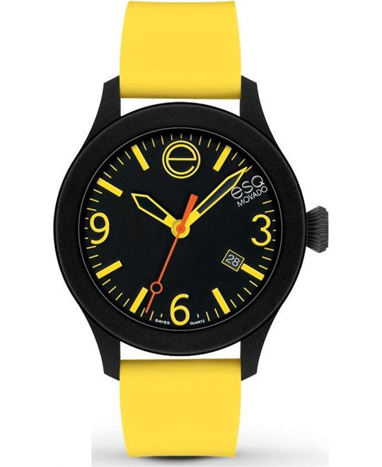 Movado ESQ Matte Silicone Yellow Sports Watch 42mm