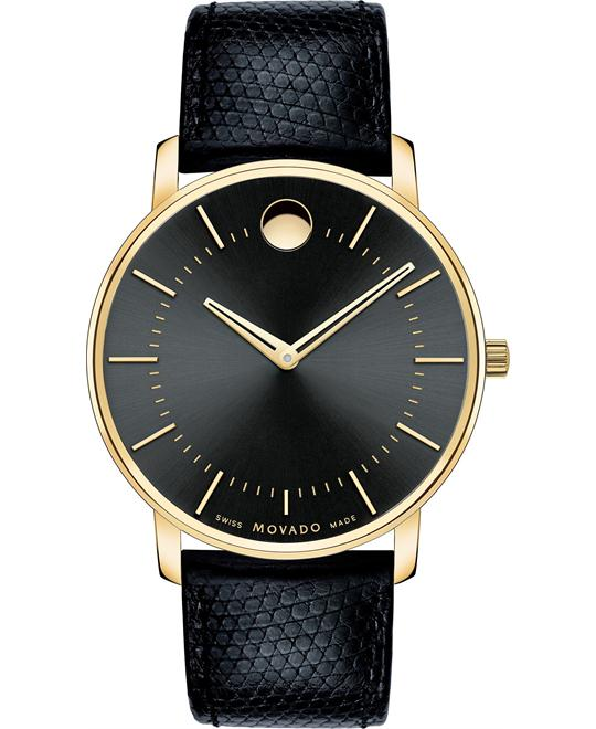 Movado TC Black Lizard-Grain Swiss Watch 40mm
