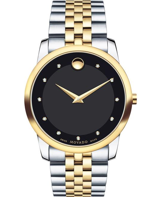 đồng hồ MOVADO Museum Diamond Black Watch 40mm