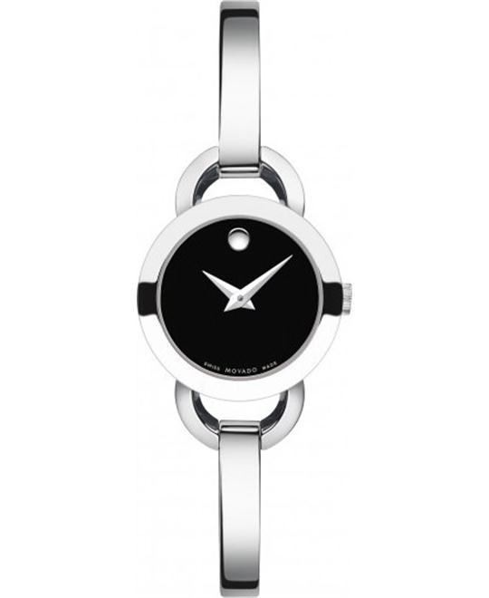 MOVADO Rondiro Black Dial Bangle Ladies Watch 22mm