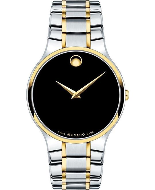 dong ho MOVADO Serio Black Concave Dot Watch 38mm