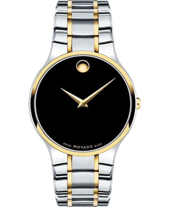 Movado Serio Black Concave Dot Watch 38mm