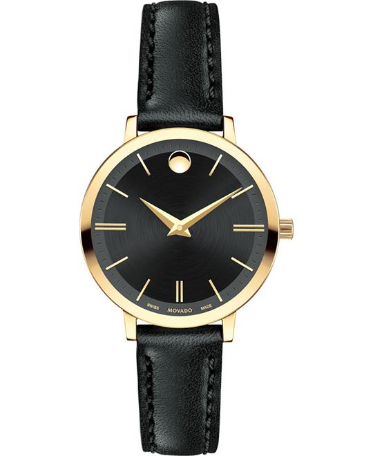 MOVADO Ultra Slim Black Dial Ladies Watch 28mm