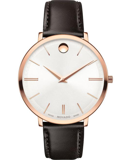 MOVADO Ultra Slim Silver Ladies Brown Watch 35mm