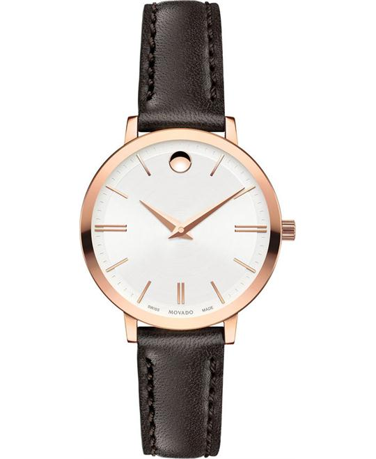 MOVADO Ultra Slim Silver Dial Ladies Leather Watch 28mm