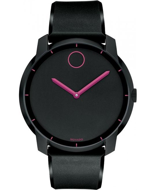 Movado Unisex Swiss Bold Black Polyurethane Watch 44mm