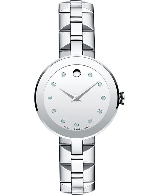 Movado Women's Swiss Sapphire Diamond Watch 28mm