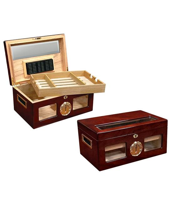 The Valencia Glass Top Cigar Humidor - Color: Golden Cherry