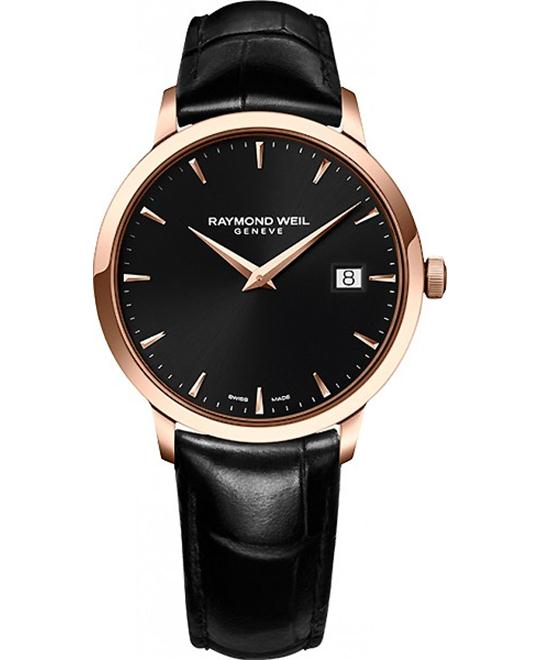 RAYMOND WEIL Toccata Black Leather Watch 39mm