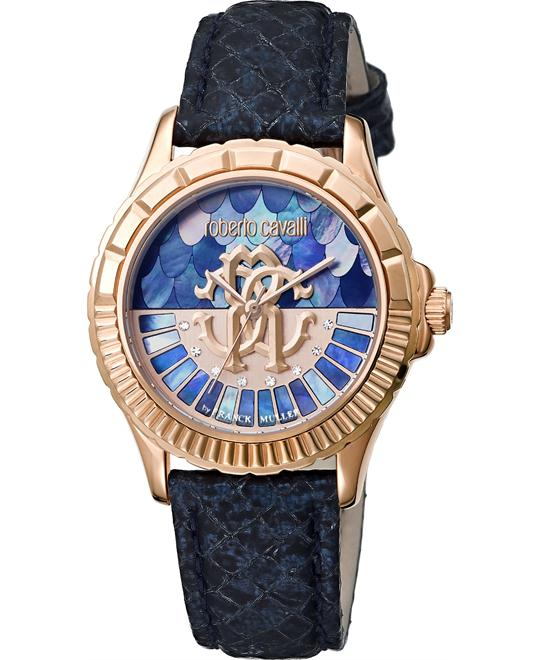 Roberto Cavalli Logo Blue Mother of Pearl Watch 35mm