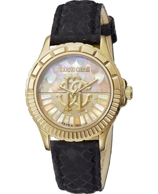 Roberto Cavalli Logo Gold Mother of Pearl Watch 35