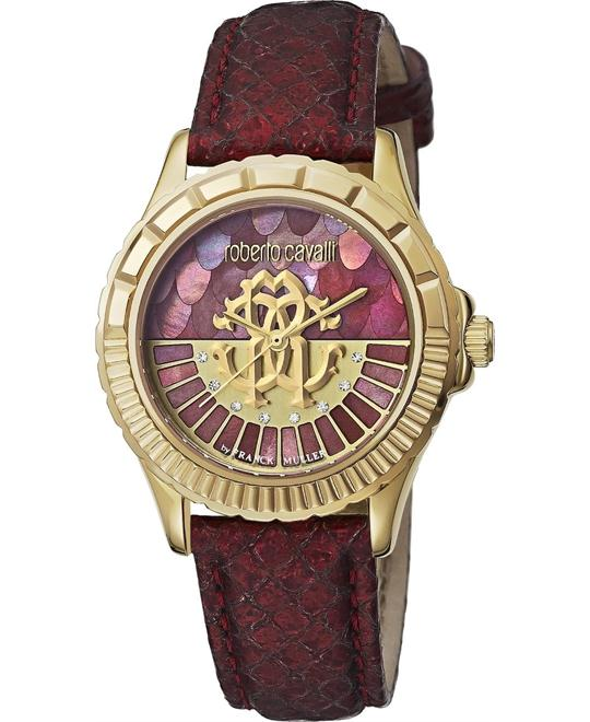 Roberto Cavalli Logo Red Mother of Pearl Watch 35