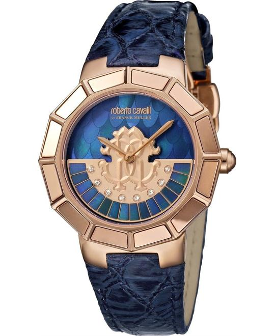 Roberto Cavalli Rotating Blue Mother of Pearl Watch 37