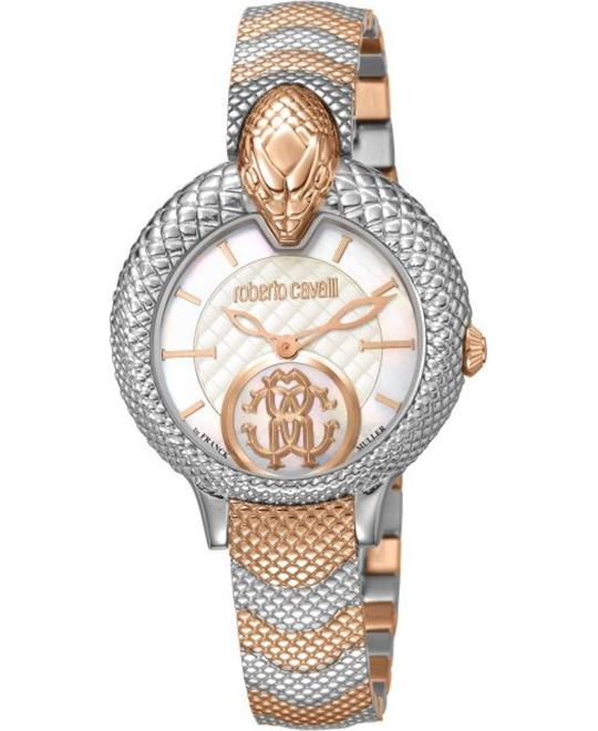 "ROBERTO CAVALLI ""SNAKE"" STEEL BRACELET WATCH 34MM"