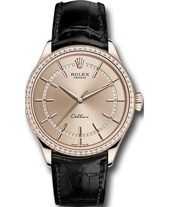 ROLEX CELLINI TIME 50705rbr-0010 18K DIAMOND WATCH 39MM