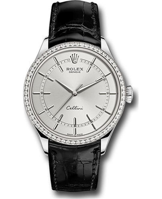 Rolex Cellini Time 50709rbr-0010 18k Diamond Watch 39mm