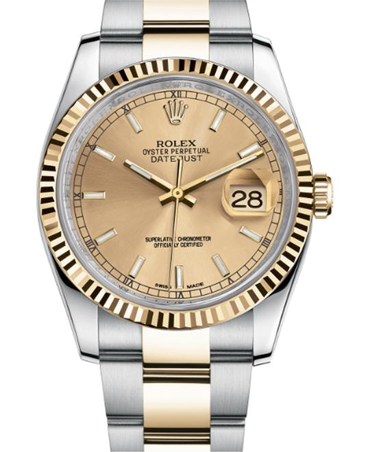 ROLEX Datejust 116233 Champagne Oyster Watch 36mm