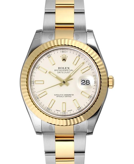ROLEX Datejust II 116333 Ivory Index 18k Oyster Watch 41mm