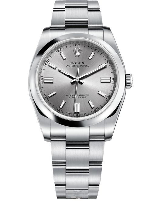 ROLEX Oyster Perpetual Rhodium Automatic Men's Watch 36mm