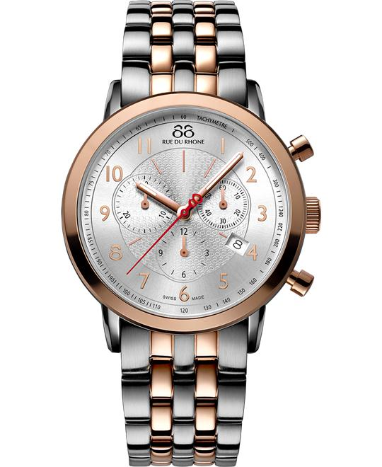 Rue du Rhone Chronograph Silver Mens rose gold 42mm