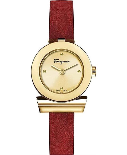 đồng hồ nữ màu đỏ Salvatore Ferragamo Gancino Watch 27mm