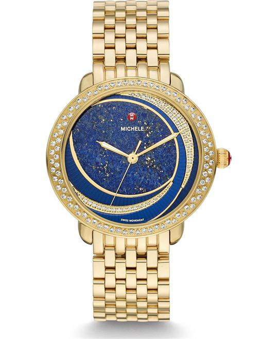Michele Serein Mid Lapis Diamond Watch