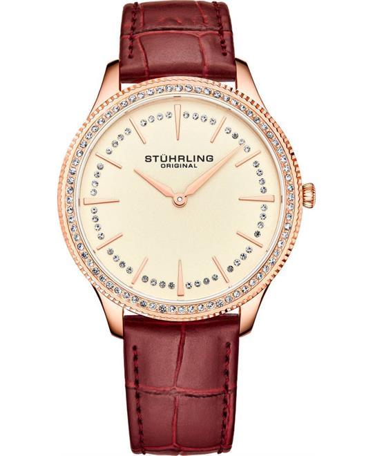 đồng hồ nữ màu đỏ Stuhrling Symphony Red Genuine Leather Watch 38mm